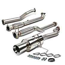 "Honda Civic Stainless Steel 4"" Rolled Muffler Tip Catback Exhaust System"