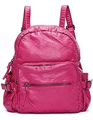 Mlife Women Vintage Washed Leather Backpack Shoulder Bag