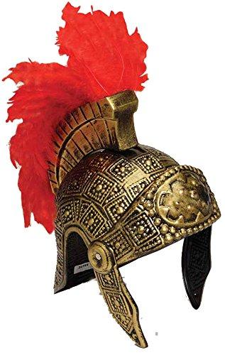 20799 Roman Helmet Gold W Red Feathers (Costume Greece)