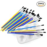 BTNOW 24 Piece Assorted Color Kids Paint Brushes Set with One White Color Platte