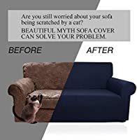 Beautiful Myth Armchair Slipcover Small Checks Knitted Jacquard Sofa Chair Covers Stretch Couch Slipcover Sofa Protection for Living Room Bedroom Chair, Navy Blue