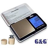 G&G 200g/0,01g TS-Weiß/Schwarz + Kalibriergewicht Taschenwaage Feinwaage Digitalwaage Goldwaage Münzwaage