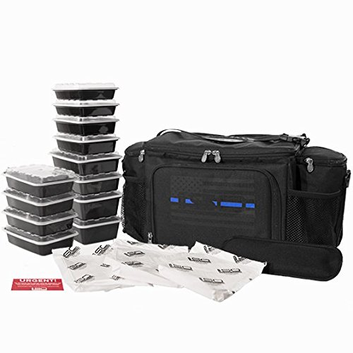 Isolator Fitness Thin Blue Line 6 Meal ISOBAG Meal Prep Management Insulated Lunch Bag Cooler with 12 Stackable Meal Prep Containers, 3 ISOBRICKS, and Shoulder Strap - MADE IN USA
