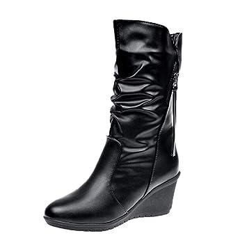 QUICKLYLY Botas De Nieve Mujer,Botines para Adulto,Zapatillas/Zapatos De Invierno Calzado Cremallera De Cuero Punta Redonda Cálidos Cuñas La Nieve: ...