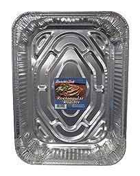 Durable Foil Rectangular Aluminum Roasting Pan with Label, 18\