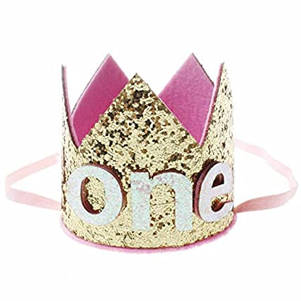 Image Unavailable. Image not available for. Color  iMagitek Baby Girl 1st  Birthday Hat Tiara Headbands ... b78734a64fc