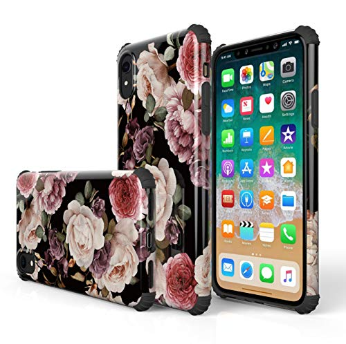 (KITATA iPhone Xr Case for Women Protective [Bumper Corner], Flowers Floral Black and Red Pink Purple Rose Print Design for Girls, [Impact Resistant] Shockproof Drop Protection TPU)