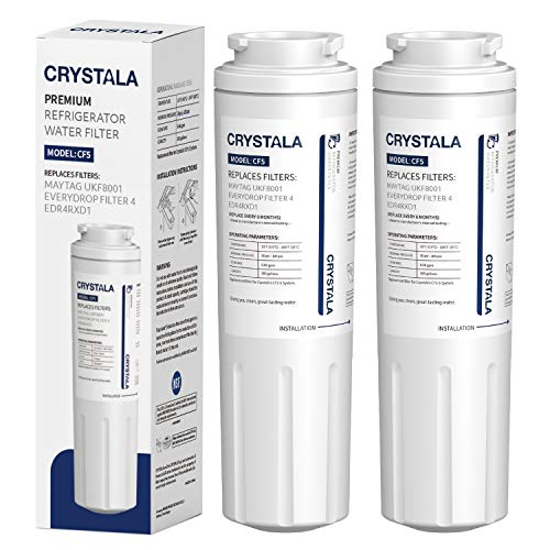 Crystala Filters UKF8001 Water Filter, Compatible with Refrigerator Water Filter Whirlpool 4396395, Filter 4, Maytag UKF8001, EDR4RXD1, UKF8001AXX, UKF8001P, Puriclean II, 469006, (2 Pack)
