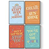 Pillow & Toast Inspirational College Dorm Posters for Guys, Set of 4 Motivational Wall Art Set, 11 x 17 Inches