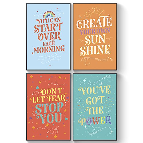 Pillow & Toast Inspirational College Dorm Posters for Girls, Set of 4 Motivational Wall Art Set, 11 x 17 Inches ()