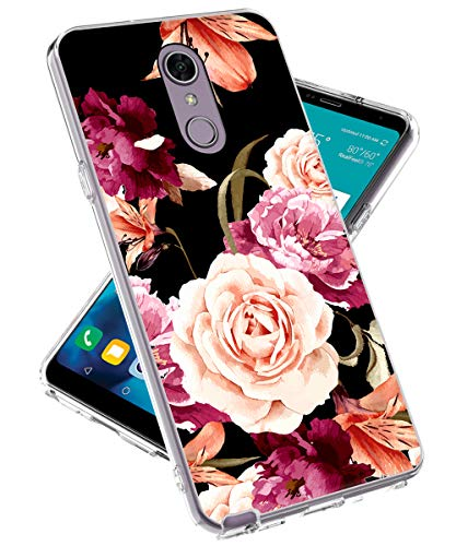 Skins For Cell Phones - LG Stylo 4 Phone Case, LG Stylo 4 Plus Case, lovemecase Marble Design Clear Bumper TPU Soft Case Rubber Silicone Skin Cover for LG Stylo 4 /LG Q Stylus(Black Floral)