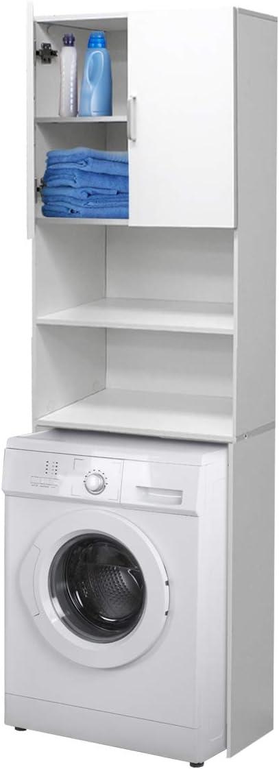 ECD Germany Mueble de lavadora - Blanco - 62,5 x 25 x 190 cm - Mueble de baño para lavadora secadora Aseo WC - Estante para lavadora - Compartimientos sobre Lavadora - Elegante - Fácil de montar