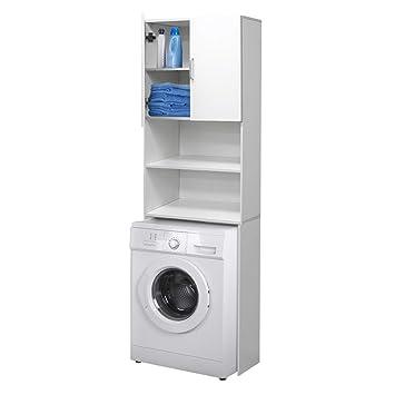 ECD Germany Waschmaschinenschrank | Weiß | ca. 62,5 x 25 x 190 cm |  Badezimmerschrank für Waschmaschine Badmöbel Badregal Hochschrank Bad  Schrank ...