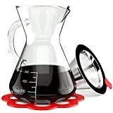Pour Over Coffee Dripper Set - Borosilicate Thermal Glass Carafe - Reusable Stainless Steel Mesh Cone Filter and Bonus Trivet - 16 oz Manual Drip Brewer with Handle - Coffee Dripper - Free Ebook