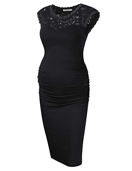KOJOOIN Damen umstandskleid Schwangerschafts Kleider,Lange ärmel elegentes Kleid Knielang