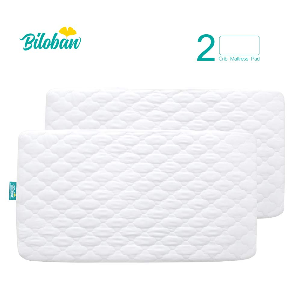 Biloban Crib Mattress Protector Waterproof (2 Pack), for 52'' × 28'' Standard Crib, Ultra Soft Toddler Mattress Protector, White