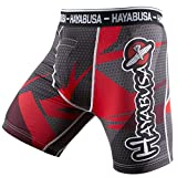 Hayabusa Men's Metaru 47 Silver Compression Shorts MMA Black/Red Small