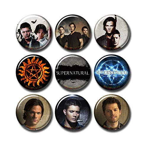 Pentagonwork Supernatural 9 pcs Button Pins Set Pack TV Series 253-P003 Sam Winchester Dean Winchester Castiel,Party Favors Supplies Gifts Home Decor (Round 1.5