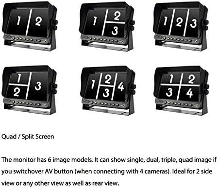 """9/"""" DIGITAL QUAD IN DVR FOR BACKUP SECURITY SYSTEM SPLIT SCREEN MONITOR BUILT"""