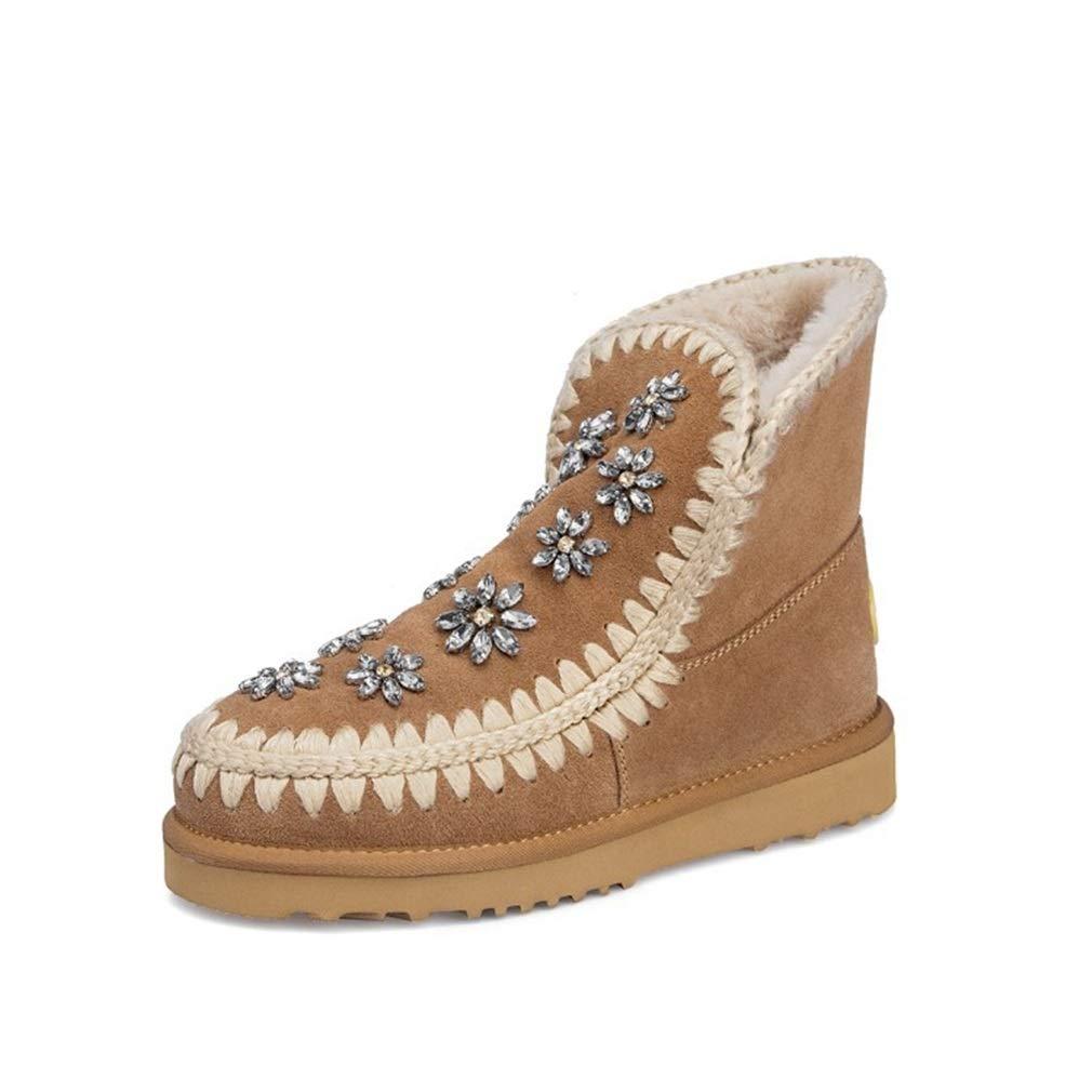 Brown Women's Snow Boots shoes Winter Leisure Ankle Boots shoes Women Plus Velvet Non-Slip shoes for Ladies Outdoor Walking shoes (color   Black, Size   38)