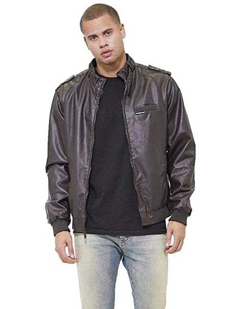 Members Only Mens Vegan Leather Iconic Racer Jacket
