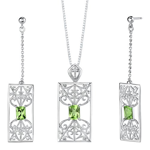 3.50 carats Radiant Cut Peridot Pendant Earrings Set in Sterling Silver Rhodium Nickel Finish