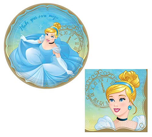 Cinderella Themed Party Supplies: Bundle Includes Round Dinner Paper Plates and Napkins for 16 People