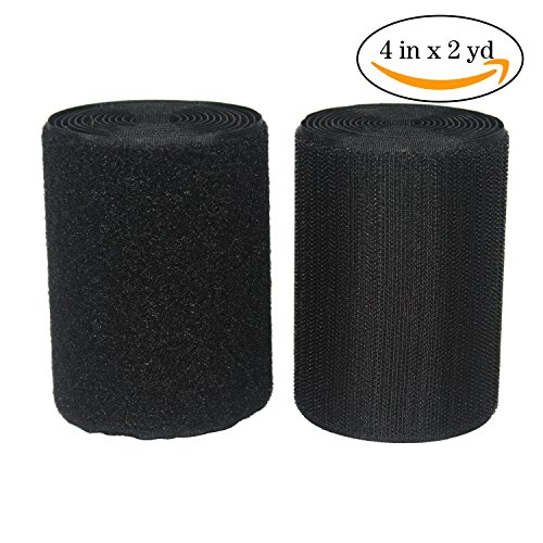 4 Inches Width 2 Yards Length,Sew on Hook and Loop Style,Non-Adhesive Nylon Strips Fabric,Black (4in x - On Hook The For