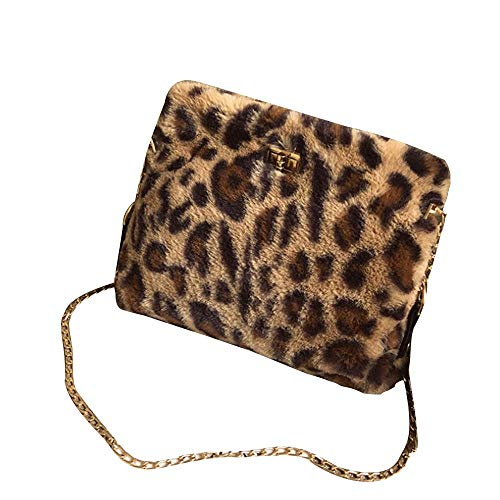 Memela Bag, Leopard Faux Fur Handbag Classy Shoulder Crossbody Bags Purse Flat Pattern Crossbody Bags Chain Handbag Bags (Brown)