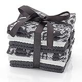 HomeCrate Damask 100% Cotton Super Soft Washcloths, 12 Piece Set, 12'' x 12'' - Gray