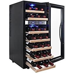 AKDY 21 Bottle Dual Zone Thermoelectric Freestanding Wine Cooler Cellar Chiller Refrigerator Fridge Quiet Operation with Wooden Shevles