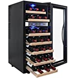 AKDY® 21 Bottle Dual Zone Thermoelectric Freestanding Wine Cooler Cellar Chiller Refrigerator Fridge Quiet Operation with Wooden Shevles For Sale