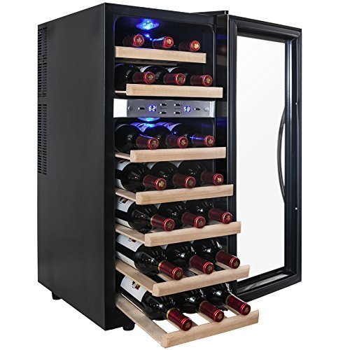 AKDY-21-Bottle-Dual-Zone-Thermoelectric-Freestanding-Wine-Cooler-Cellar-Chiller-Refrigerator-Fridge-Quiet-Operation-with-Wooden-Shevles