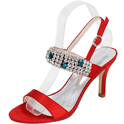 Loslandifen Piattaforma Moda Donna Tacco Alto Open Toe In Raso Cinturino Alla Caviglia Sandali Rossi