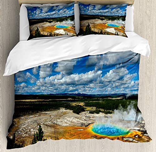 Lunarable Yellowstone Duvet Cover Set, Grand Prismatic Pool at Parkland with Fluffy Clouds and Blue Sky Nature Scenery, Decorative 3 Piece Bedding Set with 2 Pillow Shams, Queen Size, Multicolor