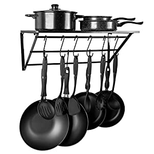 Kitchen Wall Mount Pot Pan Rack Cookware,with 10 Hooks-Large Capacity(Black)