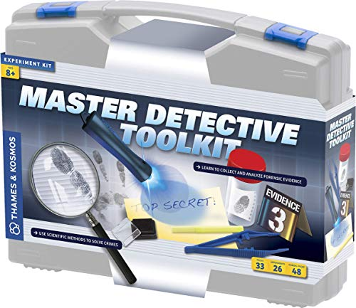 Thames & Kosmos Master Detective Toolkit | Forensic Science Experiment Kit | Fingerprints, Footprints, Tire Tracks | 32-Page, Full-Color Experiment Story Book | Parents' Choice Gold Award Winner