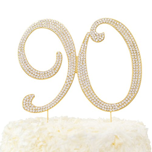 LOVENJOY with Gift Box Rhinestone 90 Cake Topper for 90th Birthday Party Supplies Gold, 5.7 X 4.5