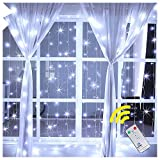 Ollny Window Curtain Light 192 LEDs Icicle Fairy String Christmas Lights for Bedroom Wedding Garden Patio Wall Outdoor Indoor Decoration Low Voltage with Remote Control(2m*2m Cool White)