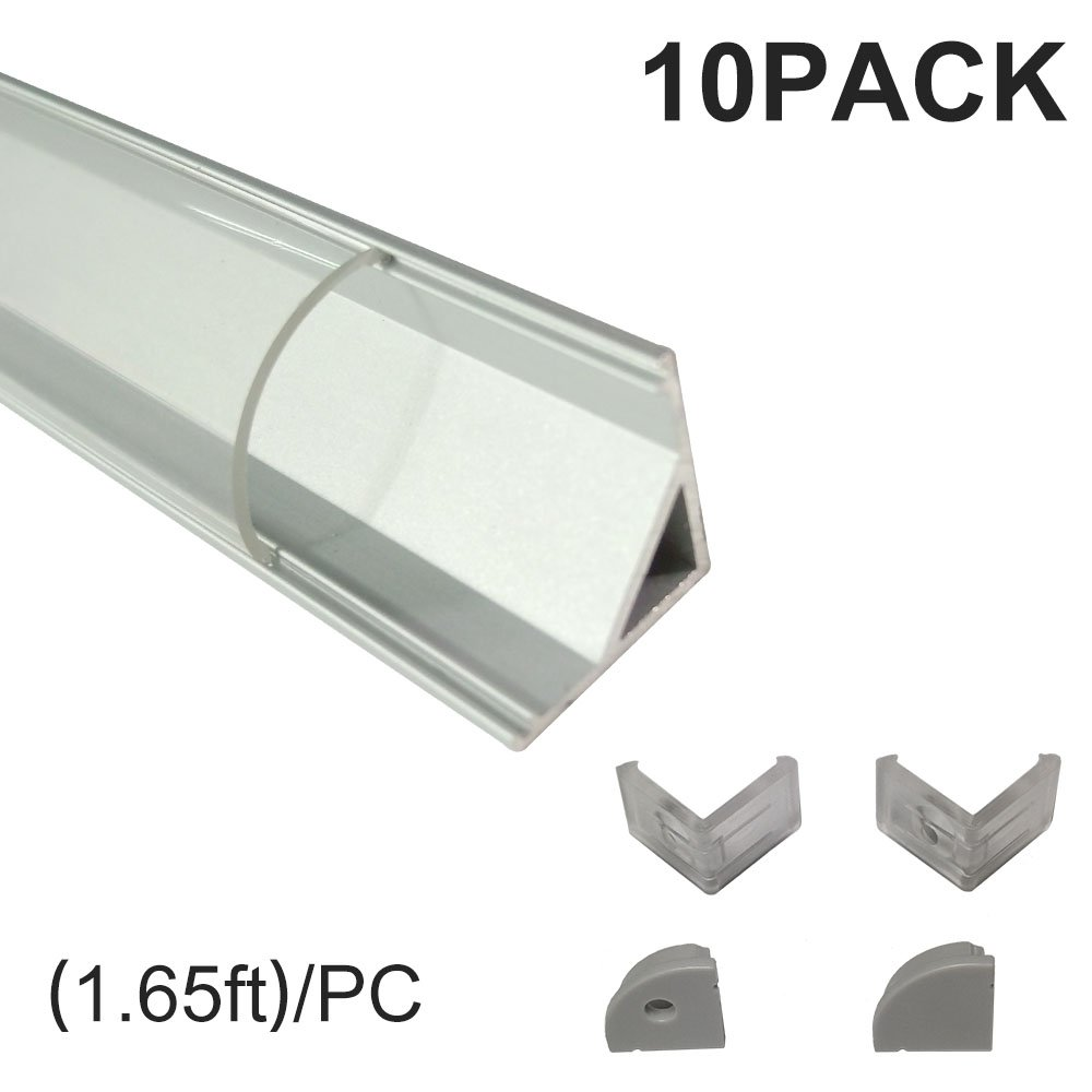 inShareplus V Shape LED Aluminum Channel System With Transparent Cover, End Caps and Mounting Clips, Aluminum Profile for LED Strip Light Installations, V02 Model, 10 Pack, 1.64ft/0.5 Meter, Silver