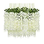 Idubai 4 Pack Artificial Cherry Blossom Flower Vines Hanging Fake Flowers Plants Silk Flowers Garland for Home Hotel Office Wedding Party Garden Craft Art Decor,5.9 Feet (White)