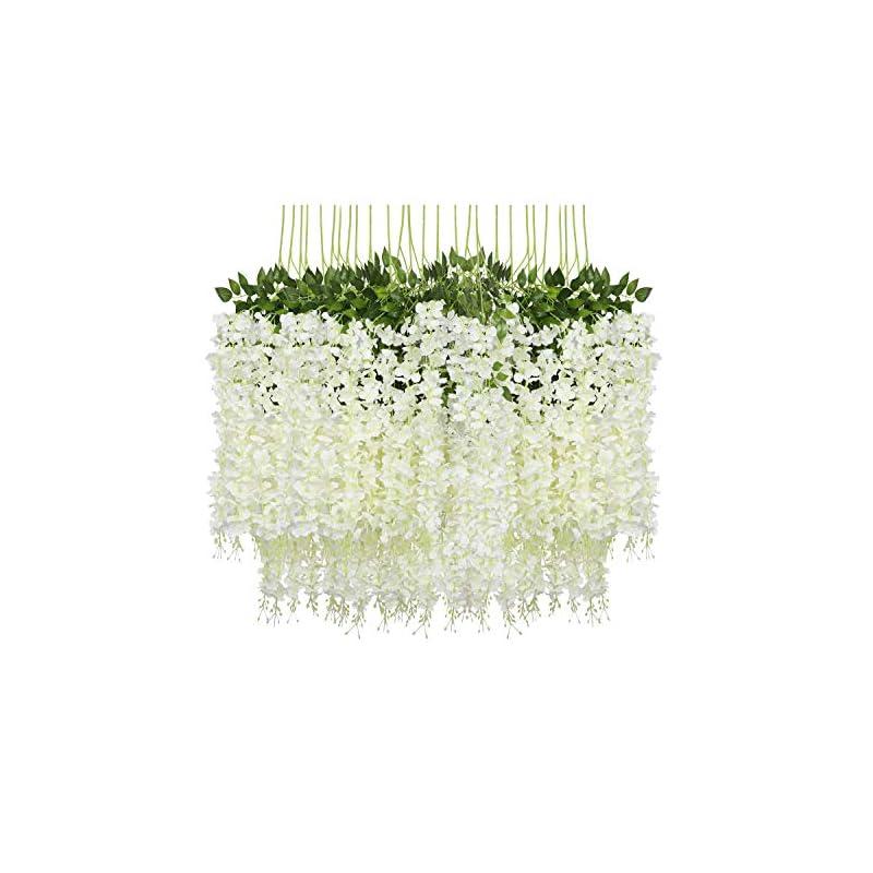 silk flower arrangements pauwer 12 pack (43.2 ft) artificial wisteria vine ratta fake wisteria hanging garland silk long hanging bush flowers string home party wedding decor (white)