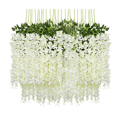 Pauwer 24 Pack (86.6 FT) Artificial Wisteria Vine Ratta Fake Wisteria Hanging Garland Silk Long Hanging Bush Flowers String Home Party Wedding Decor (White) ()
