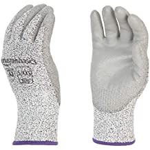 AmazonBasics Cut Resistant (Cut Level A2) Polyurethane Coated Gloves, Touch Screen, Salt & Pepper