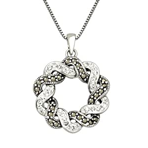 Sterling Silver Marcasite with Clear Crystal Wreath Pendant Necklace, 18""