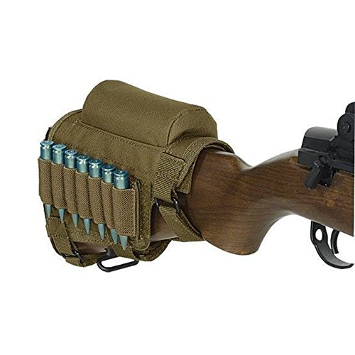 Adjustable Buttstock Cheek Rest Holder with 7 Carrier(Khaki) (Butt Pack Khaki)