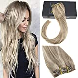 Sunny 14inch Clip in Extensions Blonde Color #16 Golden Blonde Highlights #22 Medium Blonde Clip in Blonde Human Hair Extensions Real Hair Dip Dye Full Head Hair Extensions 7pcs 120gram