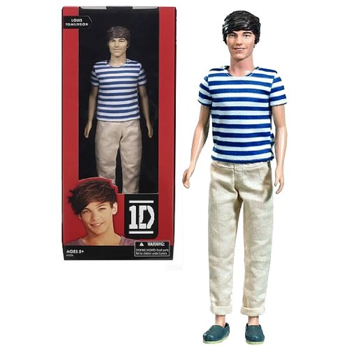 Hasbro Year 2012 One Direction 1D Collector Series 12 Inch Doll - LOUIS TOMLINSON with White Blue Stripes T-Shirt and Khakis Pants