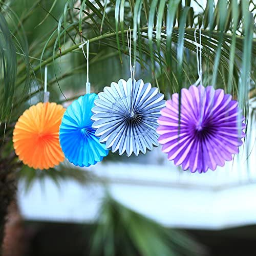 Sorive 5pcs 10 Tissue Paper Fan Party Hanging Fan Flower Wedding Birthday Showers Party Baby Shower Decorations 10 Inch, Orange