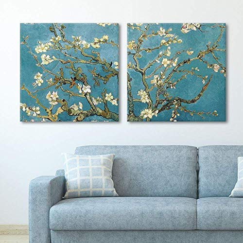 - wall26 2 Panel Square Canvas Wall Art - Almond Blossom by Vincent Van Gogh - Giclee Print Gallery Wrap Modern Home Decor Ready to Hang - 16